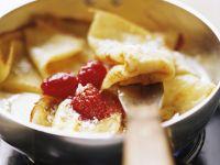 Zitronen-Pfannkuchen mit Himbeeren
