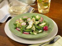 Zuckerschoten-Gurken-Salat mit Radieschen und Sesamsaat