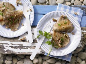 Gegrillte Austernpilze mit Walnüssen