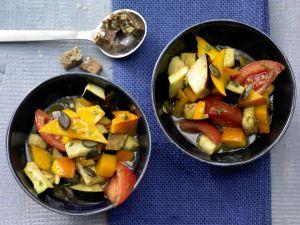 Kürbis-Auberginen Gemüse