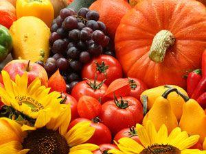 Obst- und Gemüsesorten im Herbst