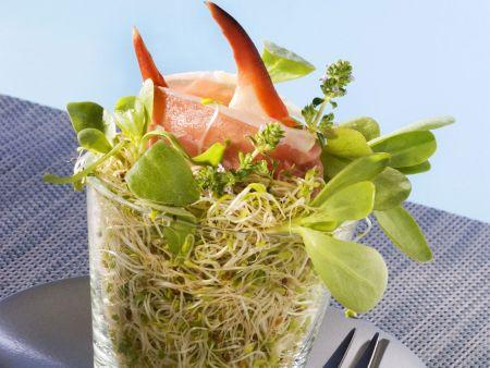 Alfalfasalat mit Krebsscheren