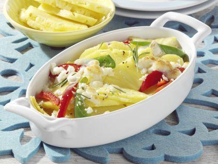 Ananas-Kartoffel-Gratin mit Ziegenkäse
