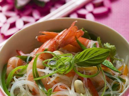 Asiatische Nudelpfanne mit Garnelen