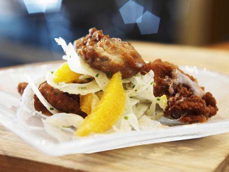 Rezept: Ausgebackene Austern mit Fenchel-Orangen-Salat