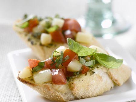 Baguette mit Tomaten und Scamorza