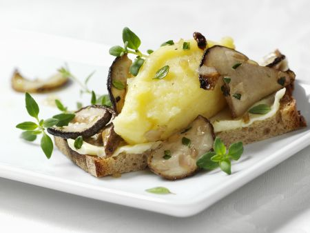 Belegtes Brot mit Kartoffelpüree und gebratenen Steinpilzen