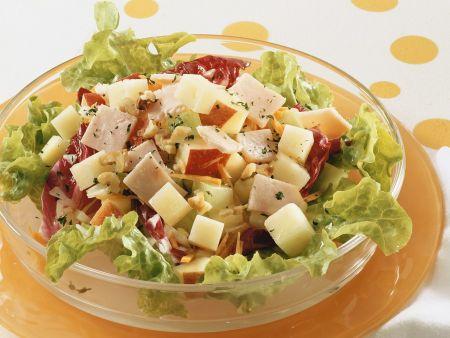 Rezept: Blattsalat mit Apfel und Schinken