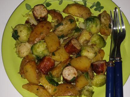 Bratkartoffeln mit Rosenkohl