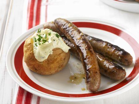 Bratwurst mit Honig glasiert dazu Ofenkartoffel