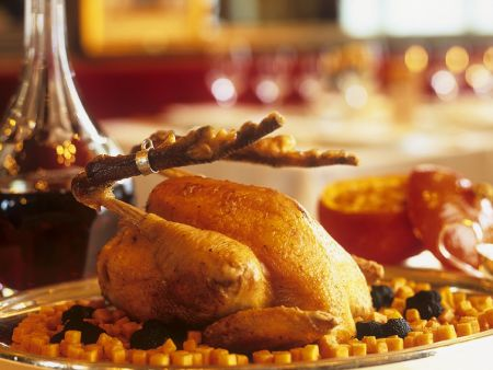 Bresse-Huhn mit Kartoffeln