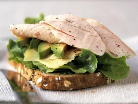 Brot mit Truthahnaufschnitt, Avocado und Käse