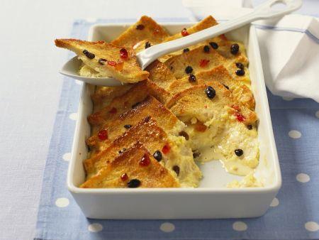 Rezept: Brot-Rosinen-Auflauf