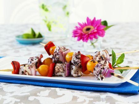 Bunter Gemüse-Spieß mit Heilbutt