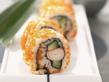 California-Rolls mit Kaviar