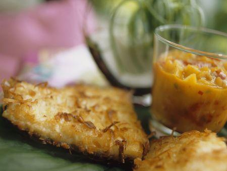 Catfish mit Kokoshaube und Mangosalsa