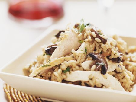 Champignon-Risotto mit Hähnchen