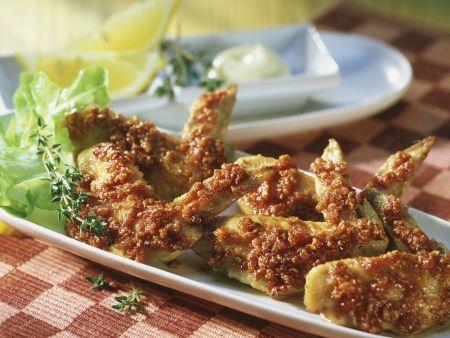 Chicken Wings mit Cornflakes paniert