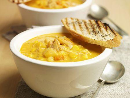 Cremige Maissuppe mit Hähnchenfleisch