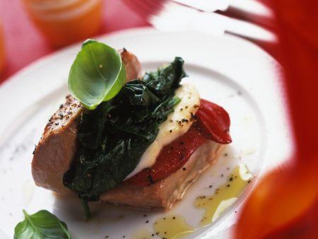Dreifarbig gefülltes Italien-Schnitzel
