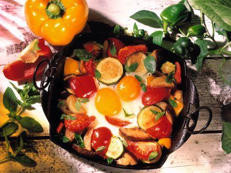 Eier auf Gemüse