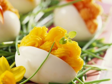 Eier mit Lachscremefüllung