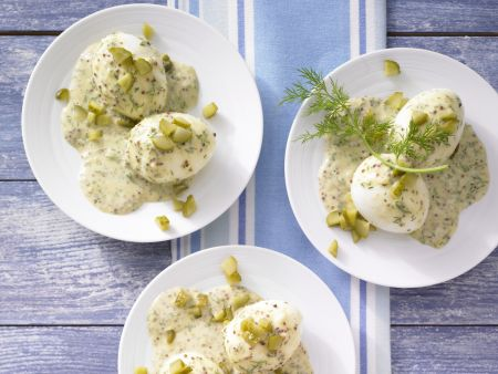 Eier in Senf-Dill-Sauce