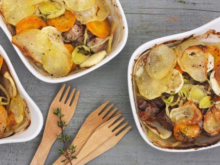 Rezept: Elsässischer Eintopf mit Fleisch und Kartoffeln (Baeckeoffe)