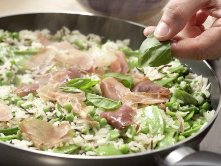 Erbsen-Reis mit Parmaschinken: Zubereitungsschritt 7