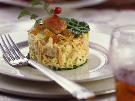 Rezept: Farmersalat mit Hähnchenbrust und Sultaninen
