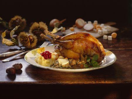 Fasanenbraten mit Maroni und Kartoffelbrei
