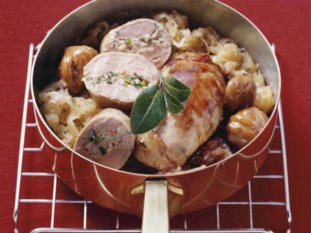 Fasanenbrust mit Pistazien-Füllung dazu Sauerkraut