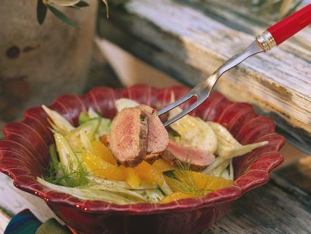 Fenchel-Orangensalat mit Schweinefleisch