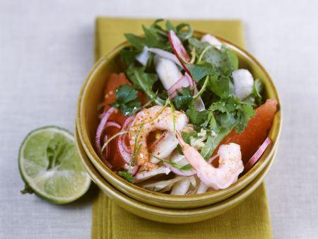 Fenchelsalat mit Shrimps und Rucola