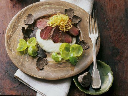Filet vom Rehrücken mit Trüffeln und Pastinakenmousse