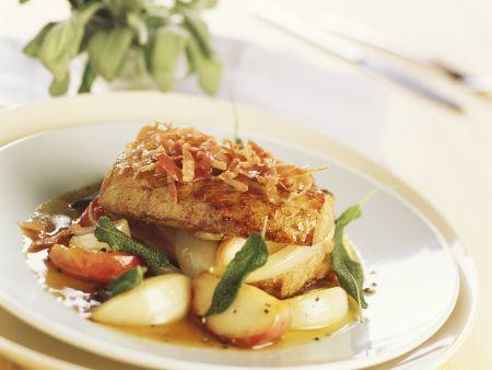 Rezept: Filet vom Schwein mit Zwiebel-Apfel-Ragout