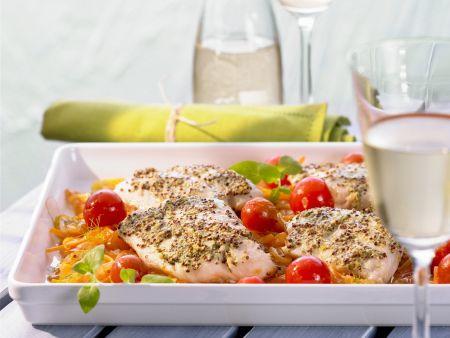 Filet vom Seelachs auf Gemüse