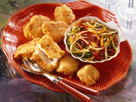 Fisch im Backteig mit Gemüse