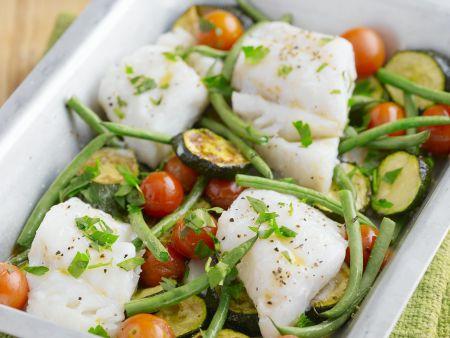 Rezept: Fisch-Zucchini-Auflauf mit Kirschtomaten