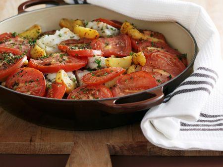 Fischeintopf mit Tomaten und Kartoffeln