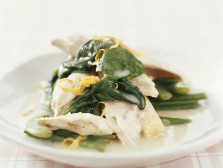 Fischfilet mit Spinat