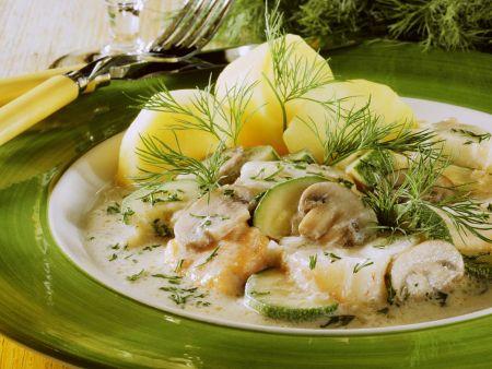 Fischfrikassee mit Dill und Kartoffeln