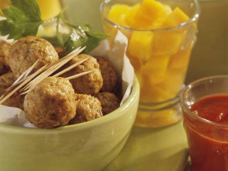Rezept: Fleischbällchen mit Ketchup und Kürbis süß-sauer