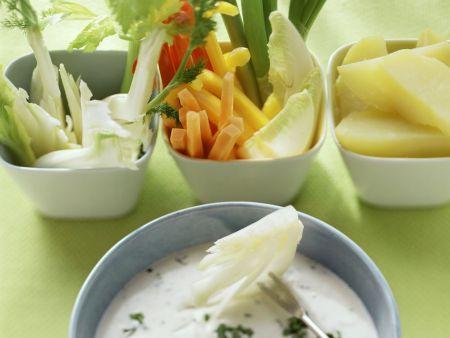 Frischkäse-Fondue mit Gemüse und Obst