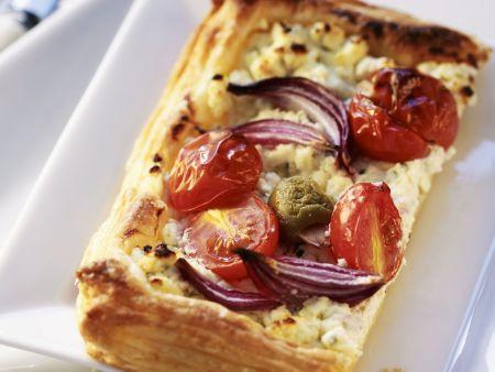 Frischkäse-Tarte mit Tomaten