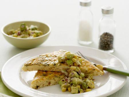 Frittata mit Zucchini und Avocadosoße