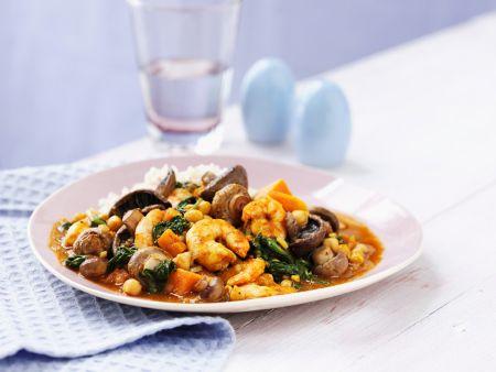 garnelen curry mit champignons und spinat rezept eat smarter. Black Bedroom Furniture Sets. Home Design Ideas