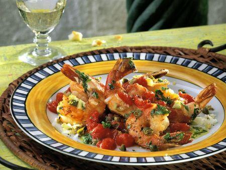 Rezept: Garnelen mit Tomatensauce
