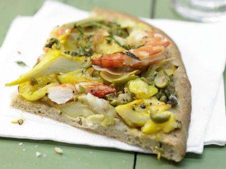 Garnelen-Pizza mit Artischockenherzen