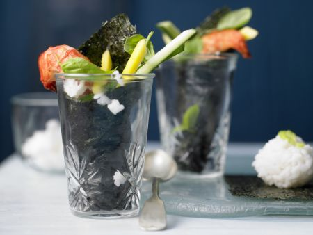 Garnelen-Sushi im Glas